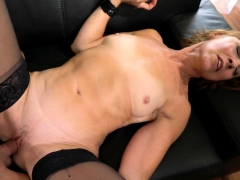 Stockinged matriarch blows