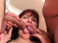 Old mature woman swallows a handful of cocks at once