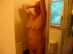 wife pulling a shower