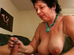 Sudden Granny gives a nice blowjob.
