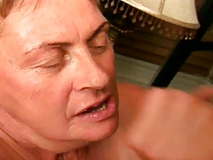 Granny sucks dick coupled with gets facial.