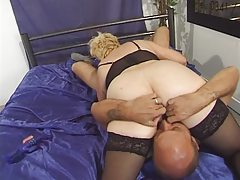 Granny in Stockings Toyed with an increment of Fucked