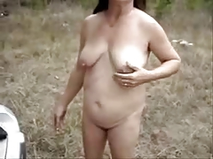 My old slut open-air showing pussy and asshole