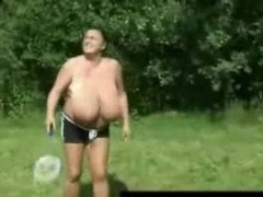Busty grannie carrying-on badminton