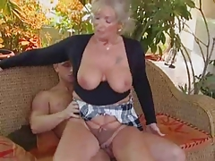 Blonde granny boned at the end be advantageous to one's tether a stud