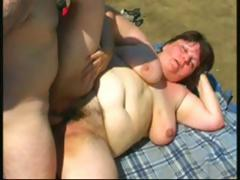 Obese brunette mature toys out of doors and then gets a cock close to fuck