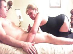 Fat guy increased by slut wife play with stranger