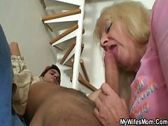 Dirty mother services their way son`s restless unearth with their way toothless mouth