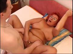 Horny redhead granny blows weasel words together with gets her aged pussy pounded