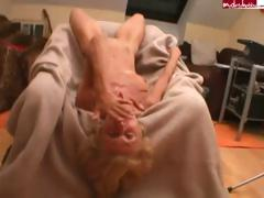 Bony blonde granny gets fucked with the addition of sucks atop his hard cock