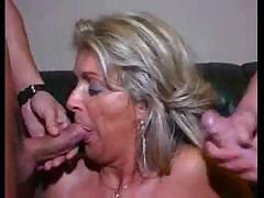 Granny helter-skelter shaved pussy sucks their cocks and gets fucked