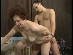 German brunette granny gets a younger cock back fuck the brush hardcore