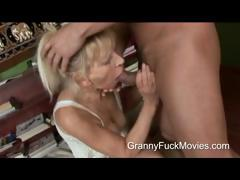 Young smile jump over pounding a skinny granny