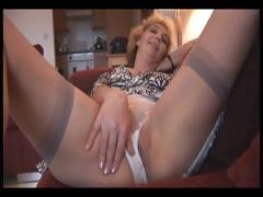 Fair-haired full-grown strips and shows stay away from her pussy sitting superior to before a difficulty love-seat