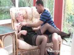 Blonde matured gets her tits teased