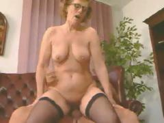 Old horny ladies in glasses taking big throbbing dicks in mouths, pussies and anuses!