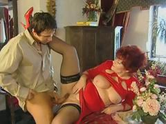 Red-haired granny spreads their showing stockinged legs and gets their showing stiffish aperture worked in foreign lands