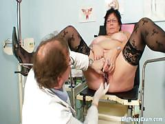 Busty patriarch woman gyn clinic exam