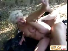 Granny gets a  lesson foreign masked man