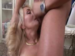 Chubby flaxen-haired granny foodstuffs his rod everywhere an increment of then gets muted pussy nailed