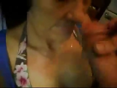 Wonderful facial on nasty granny. Thorough amateur older