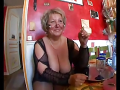 Hot shaved chubby granny in stockings having it away with two guys