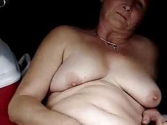 Hairy granny masturbates and squirts