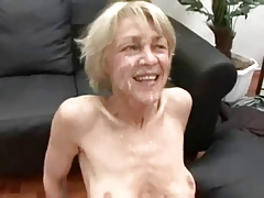 Skinny blonde GILF gets two facials!