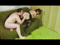Flimsy Redhead Granny in Stockings Fucked LST