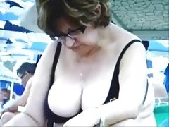Russian Busty Mature Grannies  on make an issue of Beach! Amateur!