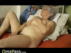 Venerable chubby Granny masturbate herself with a plaything