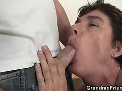 Hot threesome with nasty granny