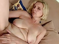 hairy Blonde Mature with saggy tits dildoing