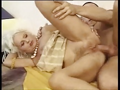 Blond hairy granny anal charge from