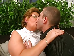 Hungarian Glasses-BBW-Granny fucked by Young Cadger