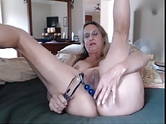 Spot on target granny playing beside dildos - part3