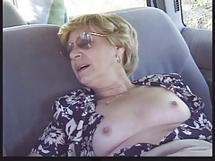 Blonde Granny Patrica Gets Fucked in the Back Seat