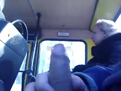 Boy Strokes Move behind With respect to Old Unspecific in Bus BVR