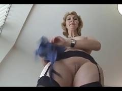 Grown-up English blonde babe in stockings upskirt twit