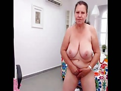 Amateur turkish granny dancing cold on web cam