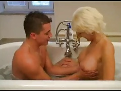 Mature making out young boy in pass a motion