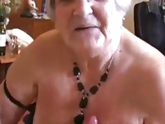 Handjob excited grandmother (ejaculation on high tits)