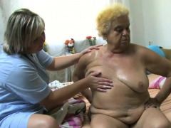 OldNanny Mature bird with the help dildo on chubby granny