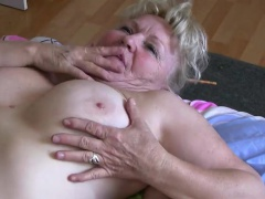Old granny tescher does strip with an increment of fuck with every other fat of age