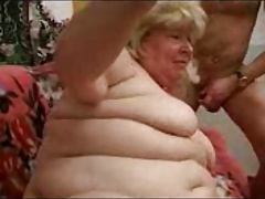Russian chunky Granny with grandson