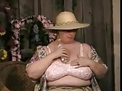 BBW hot Granny stripping with an increment of masturbate