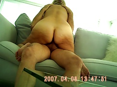 Oversexed BLONDE GILF RIDES ON SOFA