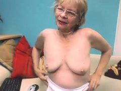 Cute Grandmother Nearly Glasses Masturbates