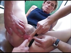 Granny nearby glasses takes two young cocks