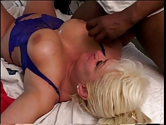 Pitch-black lady's man has wild said carnal knowledge with busty adult blonde concerning lie alongside